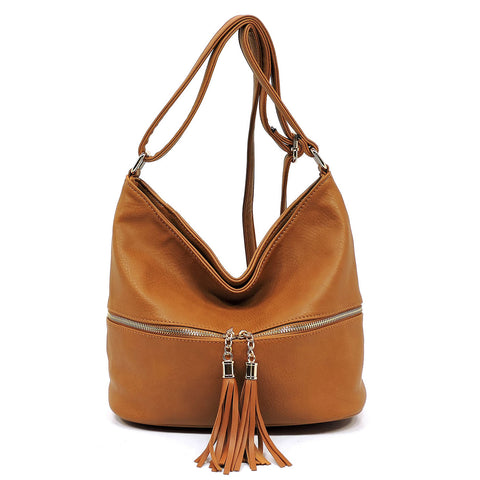 Fashion Zip Tassel Crossbody Bucket Satchel