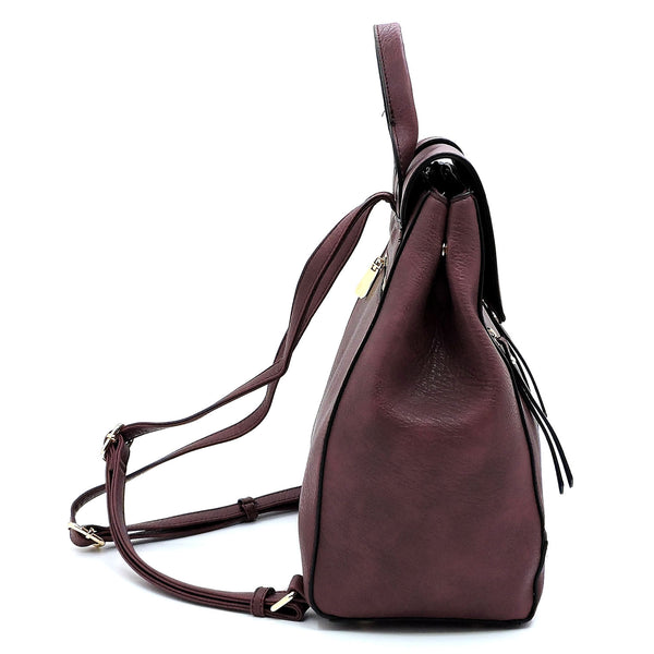 Fashion Zipper Flapover Backpack