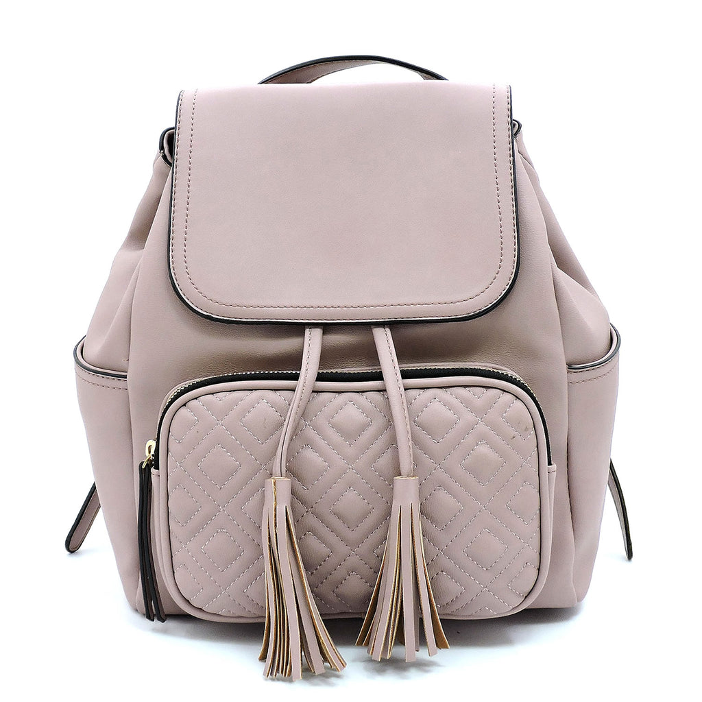 Quilted Front Pocket Flapover Backpack