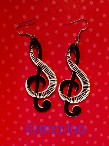 Music Themed Pair Of Wooden Earrings