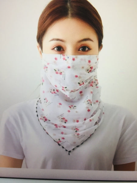 1 Fits All - White - Face Mask Scarf
