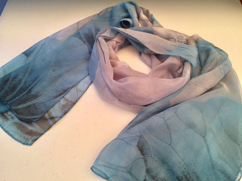 Sheer Silk Chiffon Lotus Scarf Blue Gray