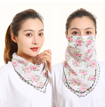 1 Fits All - Pink Green Wht - Face Mask Scarf