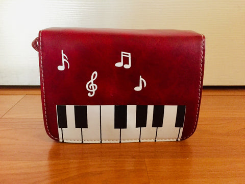 Musical Theme Purse Burgundy Red