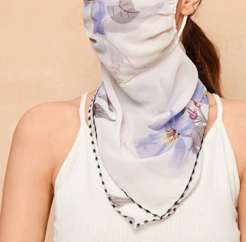 1 Fits All - Purple Gray BW - Face Mask Scarf