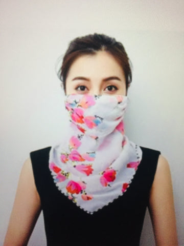 1 Fits All - Hot Pink White - Face Mask Scarf