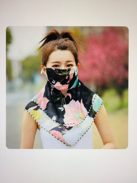 1 Fits All - BlackV - Face Mask Scarf