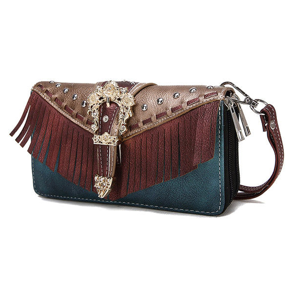 Western Buckle Fringe Double Zip Around Wallet