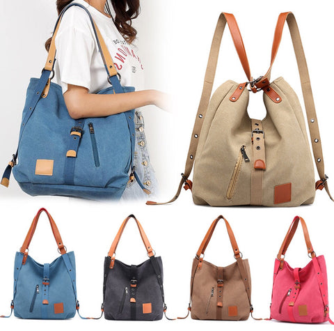 2-Way Canvas Shoulder Bag Backpack