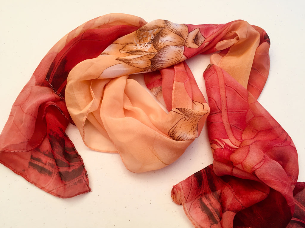 Sheer Silk Chiffon Lotus Scarf Pink Peach