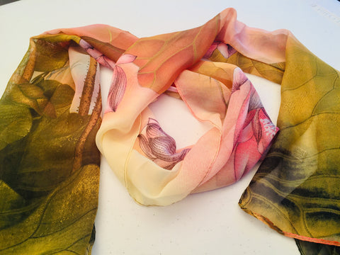 Sheer Silk Chiffon Lotus Scarf Peach Pine Green Yellow