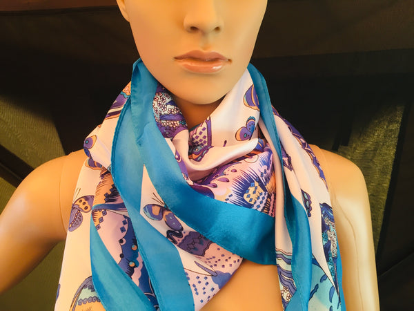 100% Silk Satin Scarf Wrap Shawl Butterflies Blue