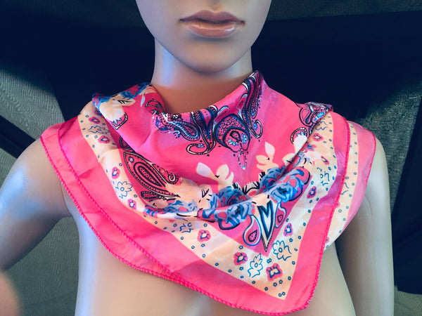 100% Silk Satin Scarf Small Hot Pink