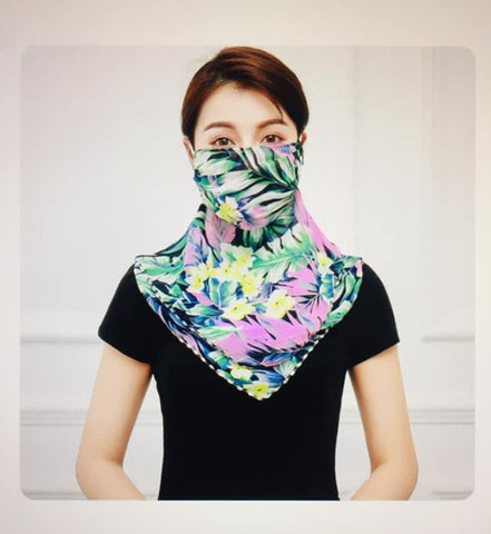 1 Fits All - Green P - Face Mask Scarf
