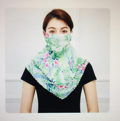 1 Fits All - Green V - Face Mask Scarf