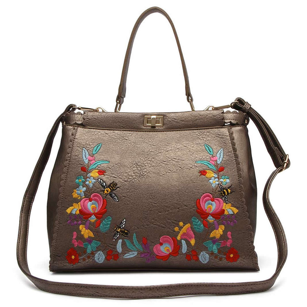Embroidered Flower Satchel