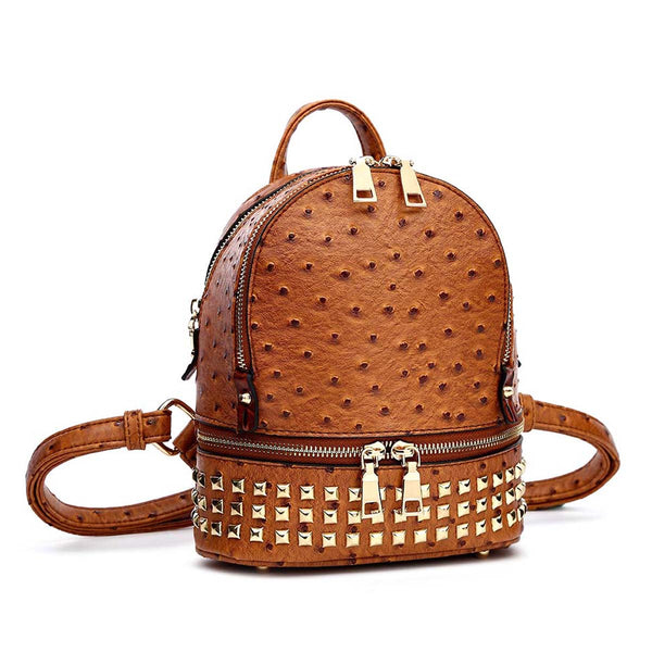 Ostrich Croc Rockstud Backpack