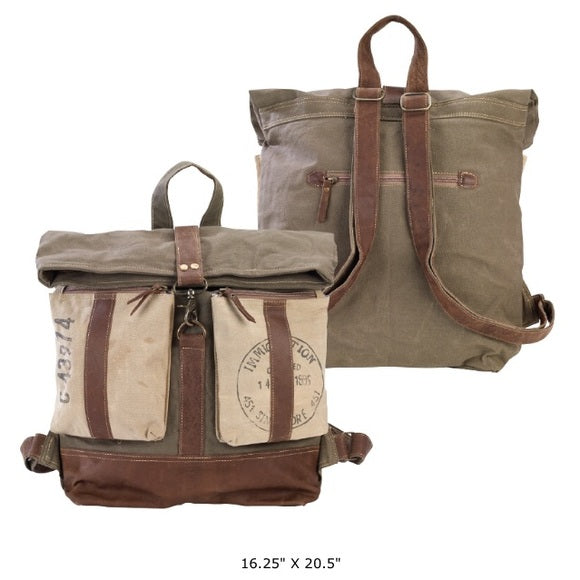 CLEA RAY Large Roll Top Canvas Backpack