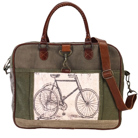 CLEA RAY Green Bicycle Canvas Bag