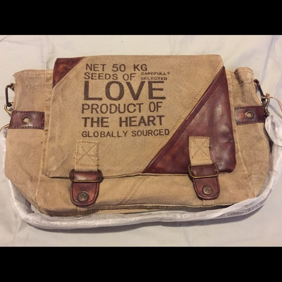 CLEA RAY Seeds of Love Canvas Messenger Bag