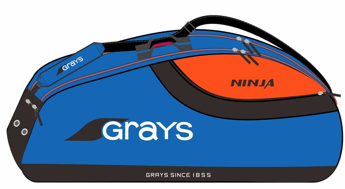 Grays Ninja 8 Racquet Pro Carrier Bag Blue Orange