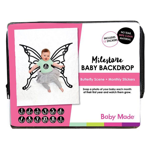 Baby Made Milestone Baby Backdrop - Butterfly Scene