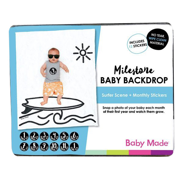 Baby Made Milestone Baby Backdrop - Surfer Scene