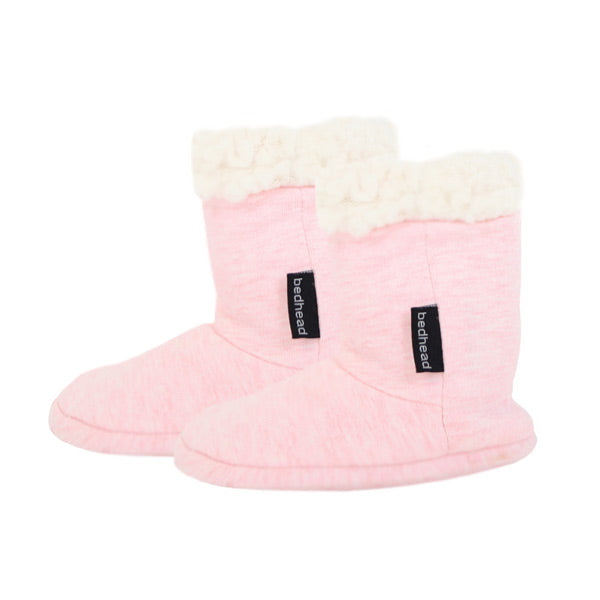 Bedhead Fleecy Baby Booties - Baby Pink Marle
