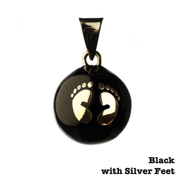 Bola Pregnancy Jewel with Chime - Black with Silver Feet