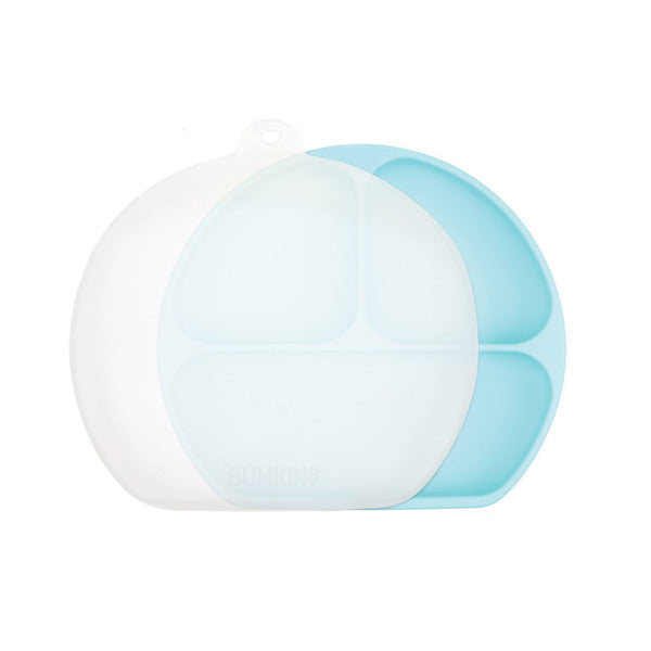 Bumkins Silicone Grip Dish with Lid - Blue
