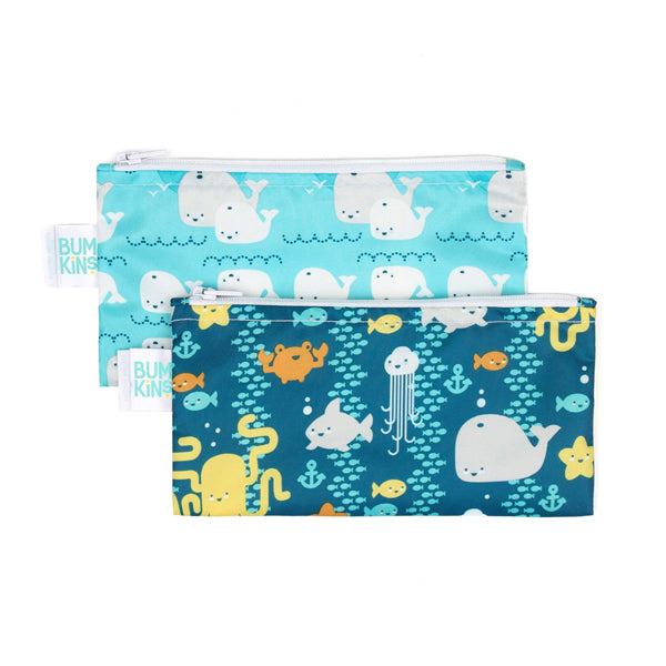 Bumkins Small Snack Bags - Sea Friends/Whales