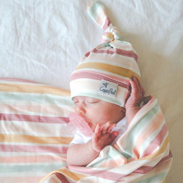 Copper Pearl Newborn Top Knot Hat - Belle