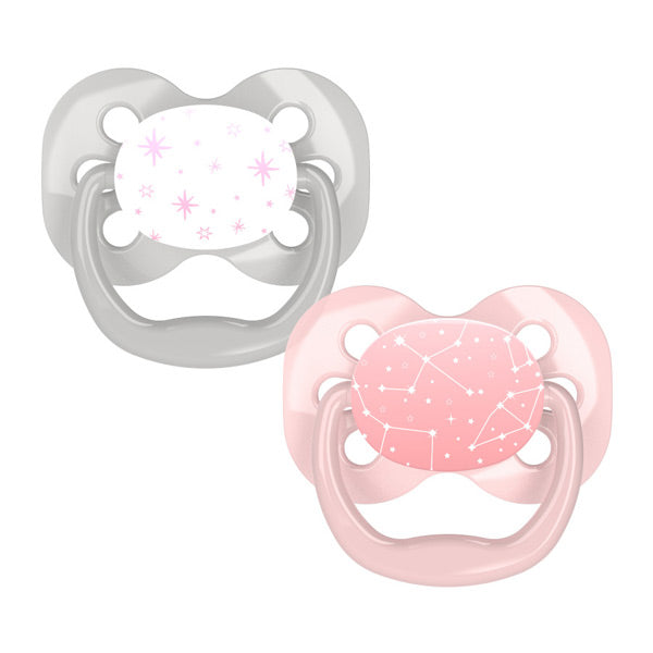 Dr Browns Advantage Pacifiers - 2 Pack - Pink Stars