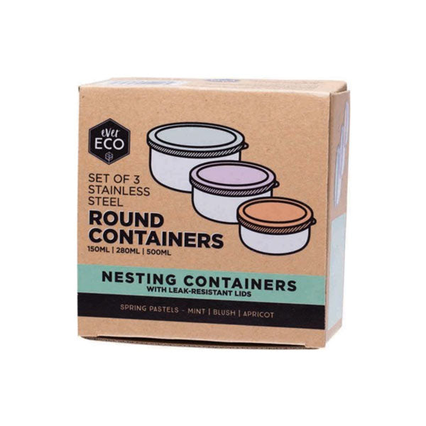 Ever Eco Stainless Steel Round Nesting Containers - 3 Piece Pastel