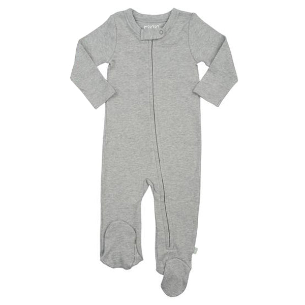 Finn and Emma Organic Cotton Zipper Footie - Basics Collection - Heather Grey