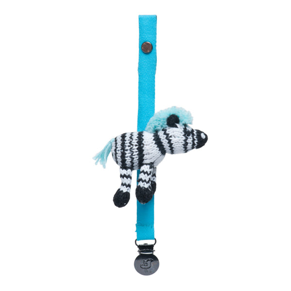 Finn and Emma Organic Cotton Pacifier Holder - Daisy the Zebra