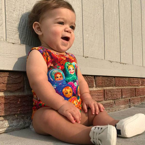 Inchworm Alley Organic Tank Bodysuit - Russian Dolls