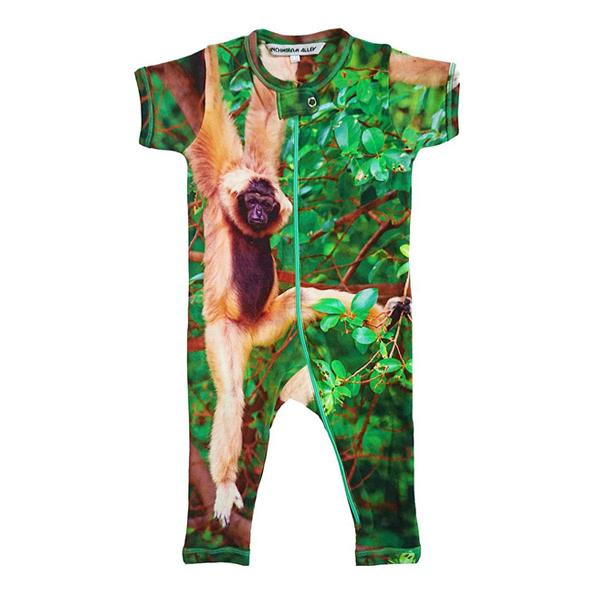 Inchworm Alley Organic Full Leg Romper - Monkey