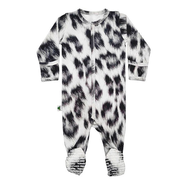 Inchworm Alley Organic Footie - Snow Leopard