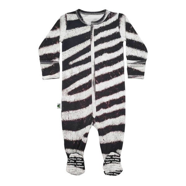 Inchworm Alley Organic Footie - Zebra
