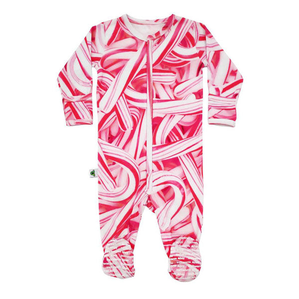 Inchworm Alley Organic Footie - Candy Canes