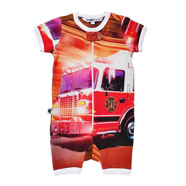 Inchworm Alley Organic Short Romper - Fire Truck