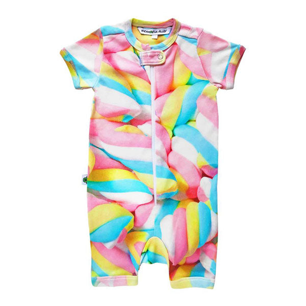 Inchworm Alley Organic Short Romper - Marshmallow Twisties