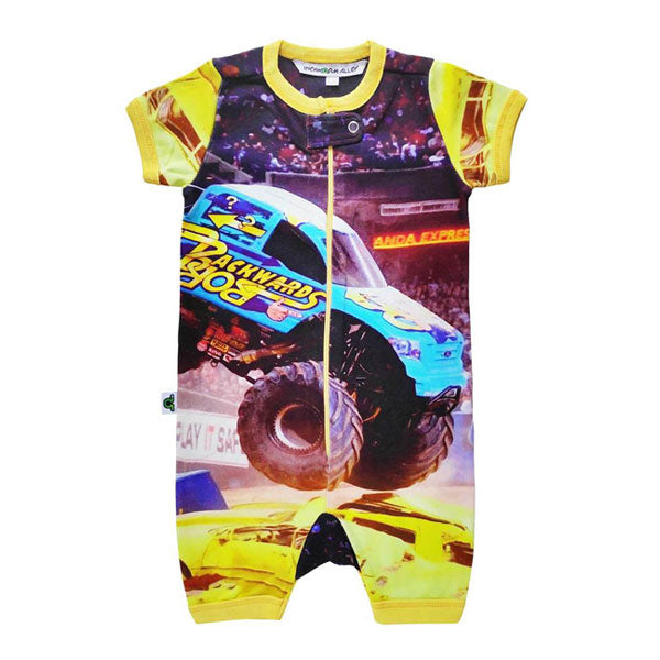 Inchworm Alley Organic Short Romper - Monster Truck
