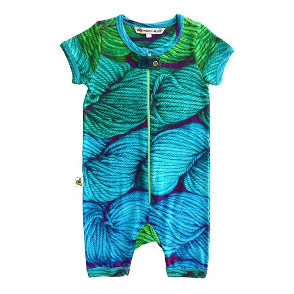 Inchworm Alley Organic Short Romper - Spin a Yarn