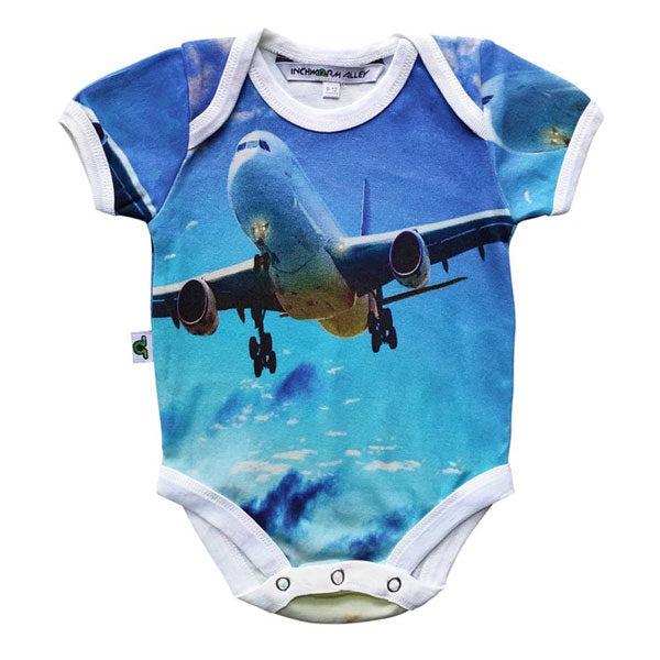 Inchworm Alley Organic Short Sleeve Bodysuit - Airplane