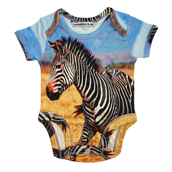 Inchworm Alley Organic Short Sleeve Bodysuit - Zebra
