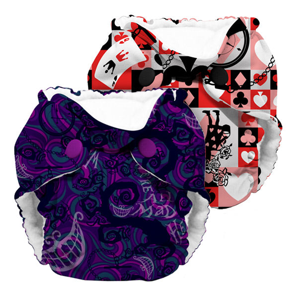 Kanga Care Wonderland Lil Joey AIO Cloth Nappies - Mixed 2pk - Cheshire & Queen of Hearts