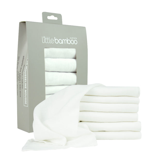 Little Bamboo Muslin Baby Washers - Natural