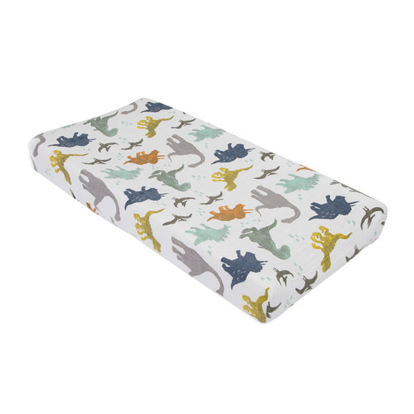 Little Unicorn Change Pad Cover / Bassinet Fitted Sheet - Dino Friends